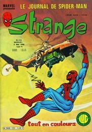Strange 125 des éditions Lug avec Daredevil par Marv Wolfman, Bob Brown et Klaus Janson, Iron Man par Michelinie, Romita Jr et Bob Layton, Spider-Man par Len Wein, Ross Andru et Esposito