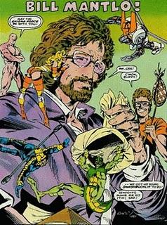 Bill Mantlo représenté avec les super héros auxquels il a donné vie