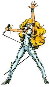 La mutante Alison Blaire alias Dazzler. Elle apparait pour la première fois dans Uncanny X-Men 130 par Claremont et Byrne, parut dans Spécial Strange 29 des éditions Lug.